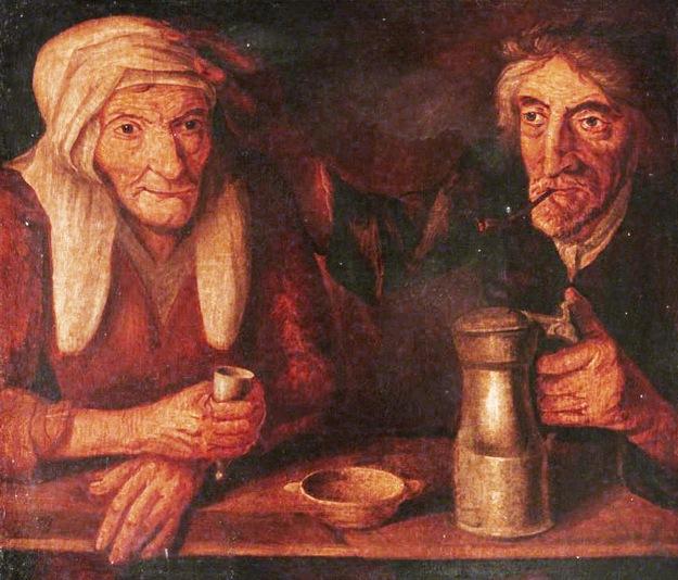 British (Scottish) School; An Old Couple Drinking